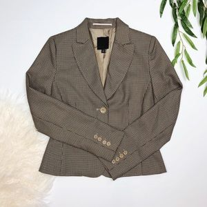 The Limited | tan black houndstooth button blazer